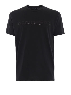 DSQUARED2: t-shirt - T-shirt nera con Dsquared2 in paillettes