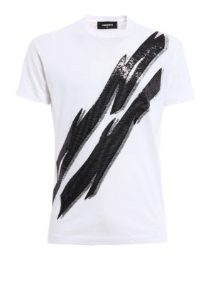Dsquared2: t-shirts - Sequined embroidered Tee