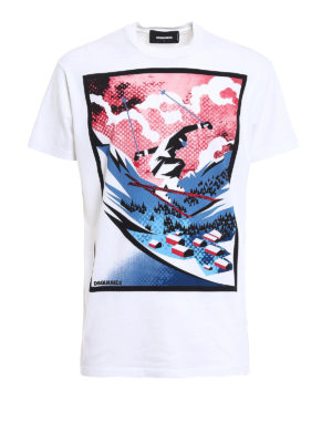 Dsquared2: t-shirts - Skier print cotton T-shirt