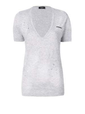 Dsquared2: t-shirts - Spotted and drilled V-neck Tee
