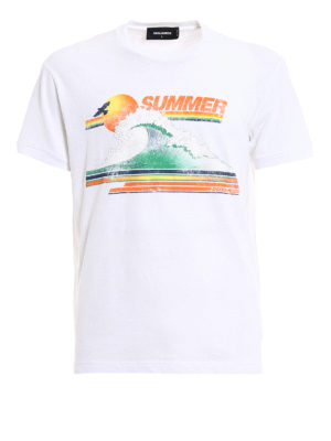 Dsquared2: t-shirts - Summer print cotton T-shirt.