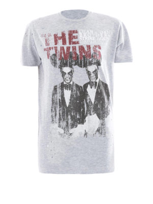 Dsquared2: t-shirts - The Twins print drilled T-shirt