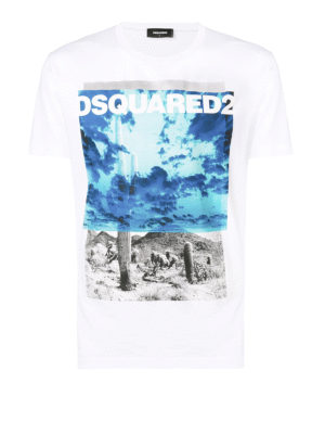 DSQUARED2: t-shirt - T-shirt in cotone stmpa bicolor