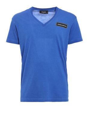 Dsquared2: t-shirts - V-neck cotton T-shirt
