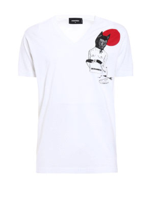 Dsquared2: t-shirts - V-neck T-shirt with chest print