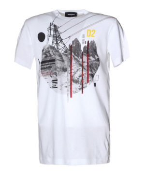Dsquared2: t-shirts - White cotton printed Tee