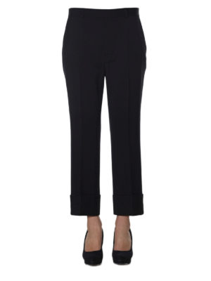 Dsquared2: Tailored & Formal trousers online - Wool blend turn-up crop trousers
