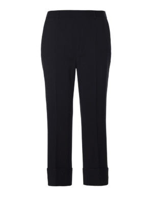Dsquared2: Tailored & Formal trousers - Wool blend turn-up crop trousers