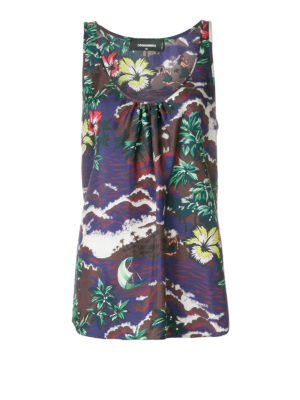 DSQUARED2: Top e canotte - Top in seta stampa hawaiana