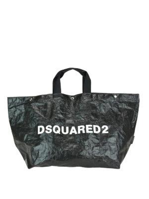 DSQUARED2: shopper - Shopper grande in tessuto tecnico lucido