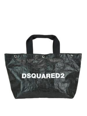 DSQUARED2: shopper - Shopper piccola in tessuto tecnico lucido