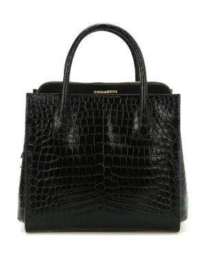 Dsquared2: totes bags - Croco print leather handbag