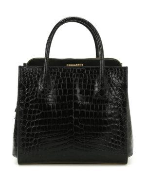 Dsquared2: totes bags - Croco print leather handbag