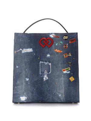 Dsquared2: totes bags - DD scraped denim bag