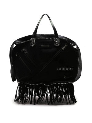 Dsquared2: totes bags - Leather studded Chiodo shopping bag