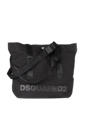 Dsquared2: totes bags - Logo print black canvas tote