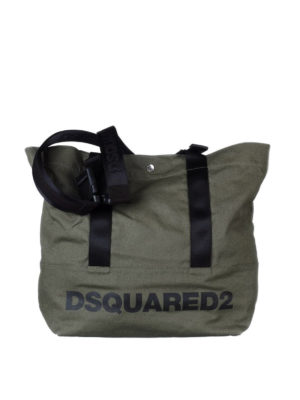 Dsquared2: totes bags - Logo print dark green canvas tote