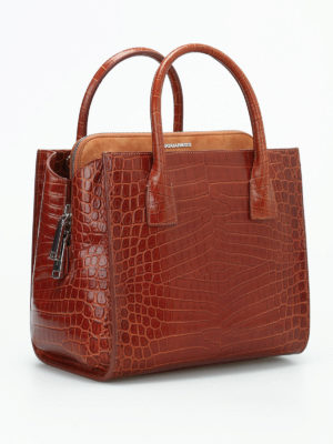 Dsquared2: totes bags online - Croco print leather handbag