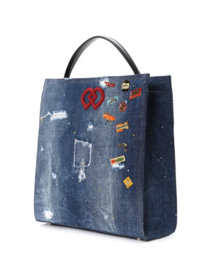 Dsquared2: totes bags online - DD scraped denim bag