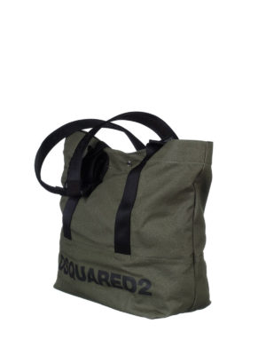 Dsquared2: totes bags online - Logo print dark green canvas tote