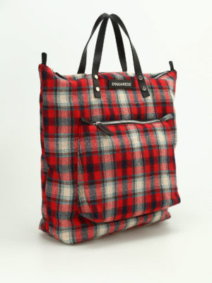 Dsquared2: totes bags online - Tartan flannel tote