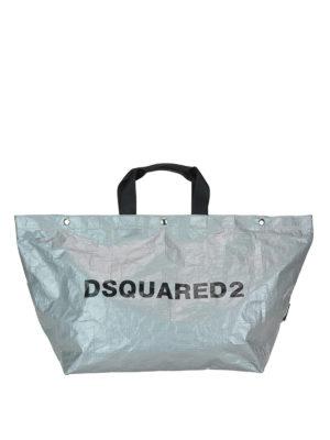 DSQUARED2: shopper - Shopper grande in tessuto tecnico cangiante