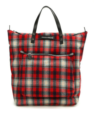 Dsquared2: totes bags - Tartan flannel tote