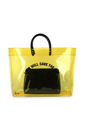 Dsquared2: totes bags - Yellow PVC tote