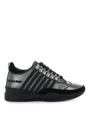 DSQUARED2: sneakers - Sneaker 251 in pelle laminata canna di fucile