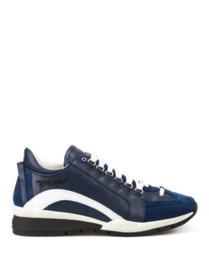 Dsquared2: trainers - 551 blue leather and suede sneakers