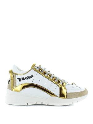 DSQUARED2: sneakers - Sneaker 551 bianche con inserti dorati