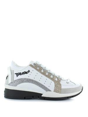 DSQUARED2: sneakers - Sneaker 551 bianche in pelle e glitter