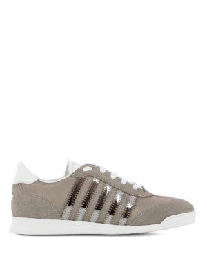 DSQUARED2: sneakers - Sneaker grigie in camoscio e raso