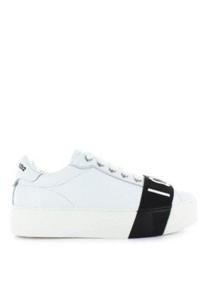 DSQUARED2: sneakers - Sneaker in pelle con fascia Icon