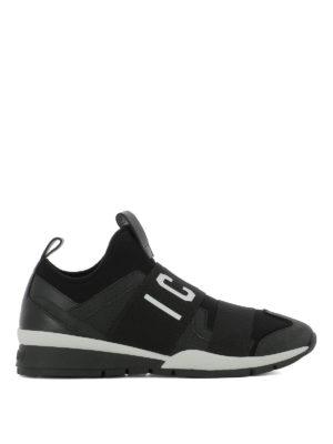 DSQUARED2: sneakers - Slip-on in neoprene e pelle con banda Icon