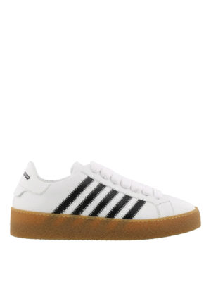 DSQUARED2: sneakers - Sneaker low top in pelle con righe