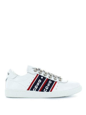 DSQUARED2: sneakers - Sneaker bianche in pelle con bande logo