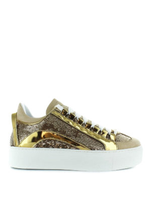 DSQUARED2: sneakers - Sneaker in pelle laminata e paillettes