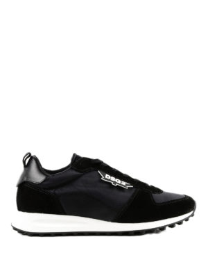 DSQUARED2: sneakers - Sneaker New Runner nere con tessuti multipli
