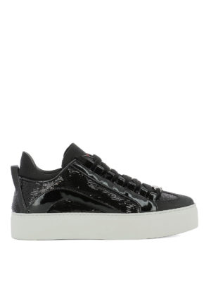 DSQUARED2: sneakers - Sneaker in nabuk vernice e paillettes