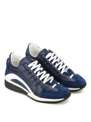 Dsquared2: trainers online - 551 blue leather and suede sneakers
