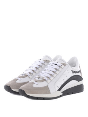 Dsquared2: trainers online - 551 white leather & suede sneakers