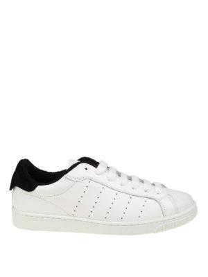 DSQUARED2: sneakers - Sneaker Santa Monica in pelle bianca e nera