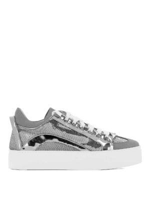DSQUARED2: sneakers - Sneaker in nabuk vernice e paillettes argento