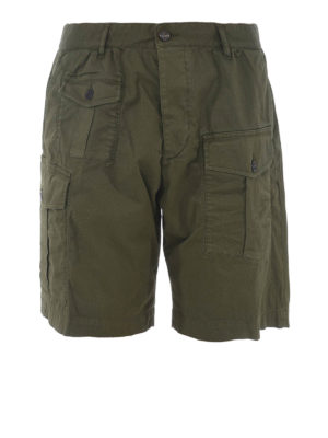 DSQUARED2: Trousers Shorts - Army green cargo bermuda shorts