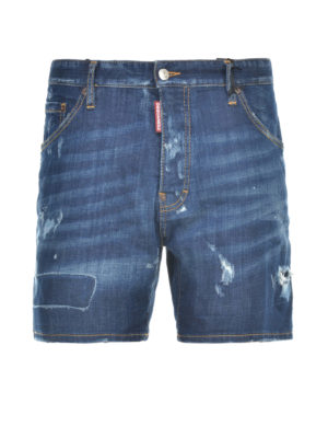 Dsquared2: Trousers Shorts - Distressed denim short pants