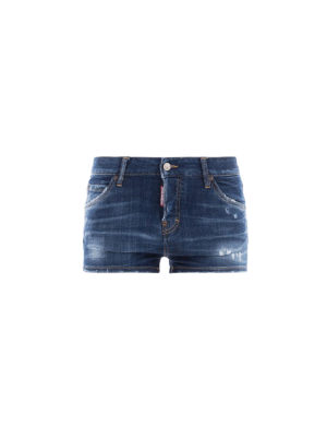 DSQUARED2: pantaloni shorts - Shorts cinque tasche in denim used