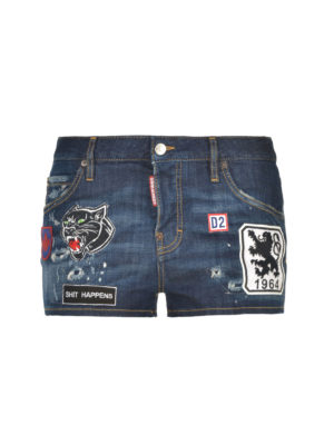 Dsquared2: Trousers Shorts - Mini denim shorts with patches