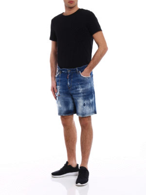 Dsquared2: Trousers Shorts online - Pink and white spotted denim shorts
