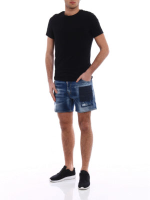 Dsquared2: Trousers Shorts online - Used effect stretch denim shorts